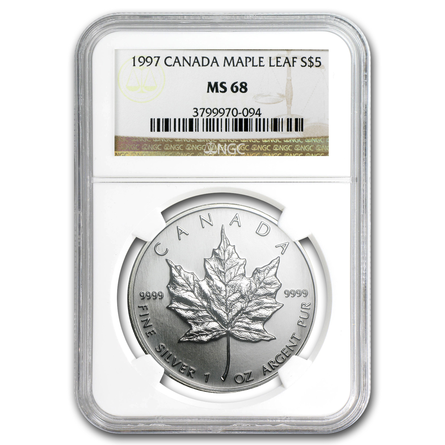 1997 Canada 1 oz Silver Maple Leaf MS-68 NGC